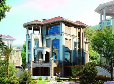 别墅有弧形的空间设计,分别被每层利用为娱乐室,餐厅,次主卧和阳台.