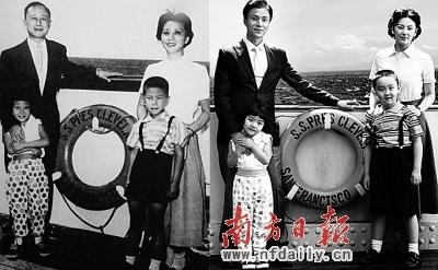 钱学森一家历史照片(左)与影片剧照.