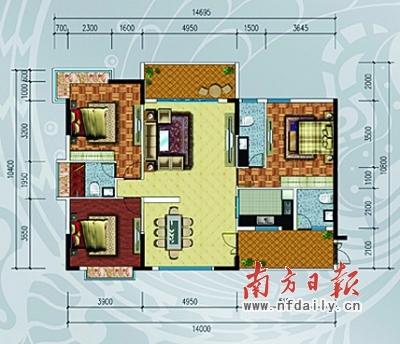 洲岛家园二房户型 图