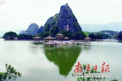 莲藕湖光风景图片