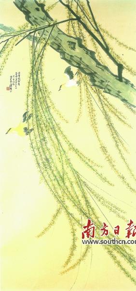 陈树人以皴擦强调树干树枝的质感,直接以颜色描绘红棉花;除使用国画的
