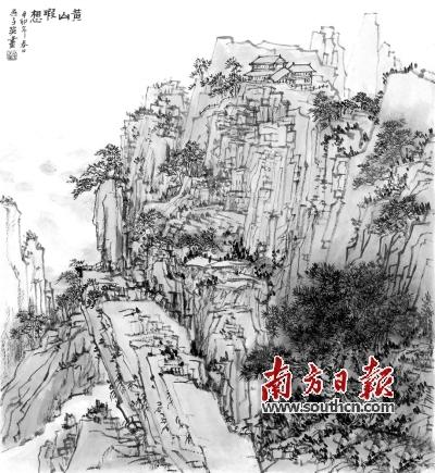 原始森林房屋素描