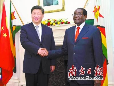 12月1日,国家主席习近平在哈拉雷同津巴布韦总统穆加贝举行会谈.