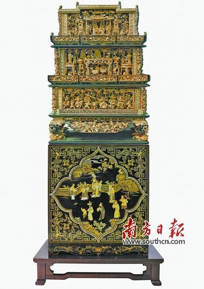 展品《潮州金漆木雕特大型馔盒》.受访者供图