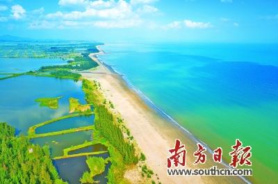 阳江滨海新区长达10公里的海岸线和优质沙滩.