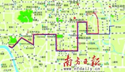 红线部分为154路公交车更改后的路线图.资料图片